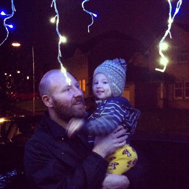 I think Toby likes the Christmas lights outside our house :)