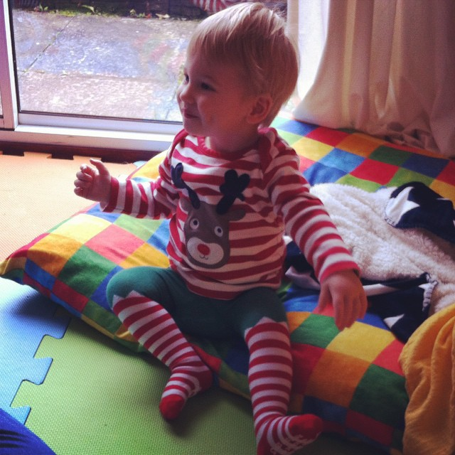 I know it's only the middle of November...but how cute is Toby in his Christmas top and elf tights?!