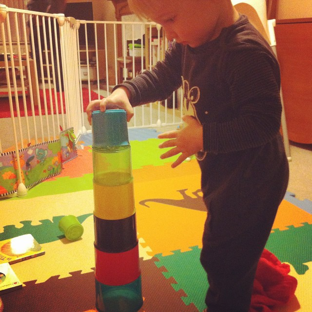 It's so much easier to build a big tower when you can stand up and do it :)