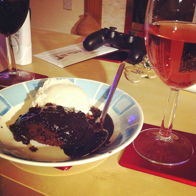 Cartmel Sticky Chocolate pudding, ice cream, wine and Strictly on the telly. I win at Saturday!