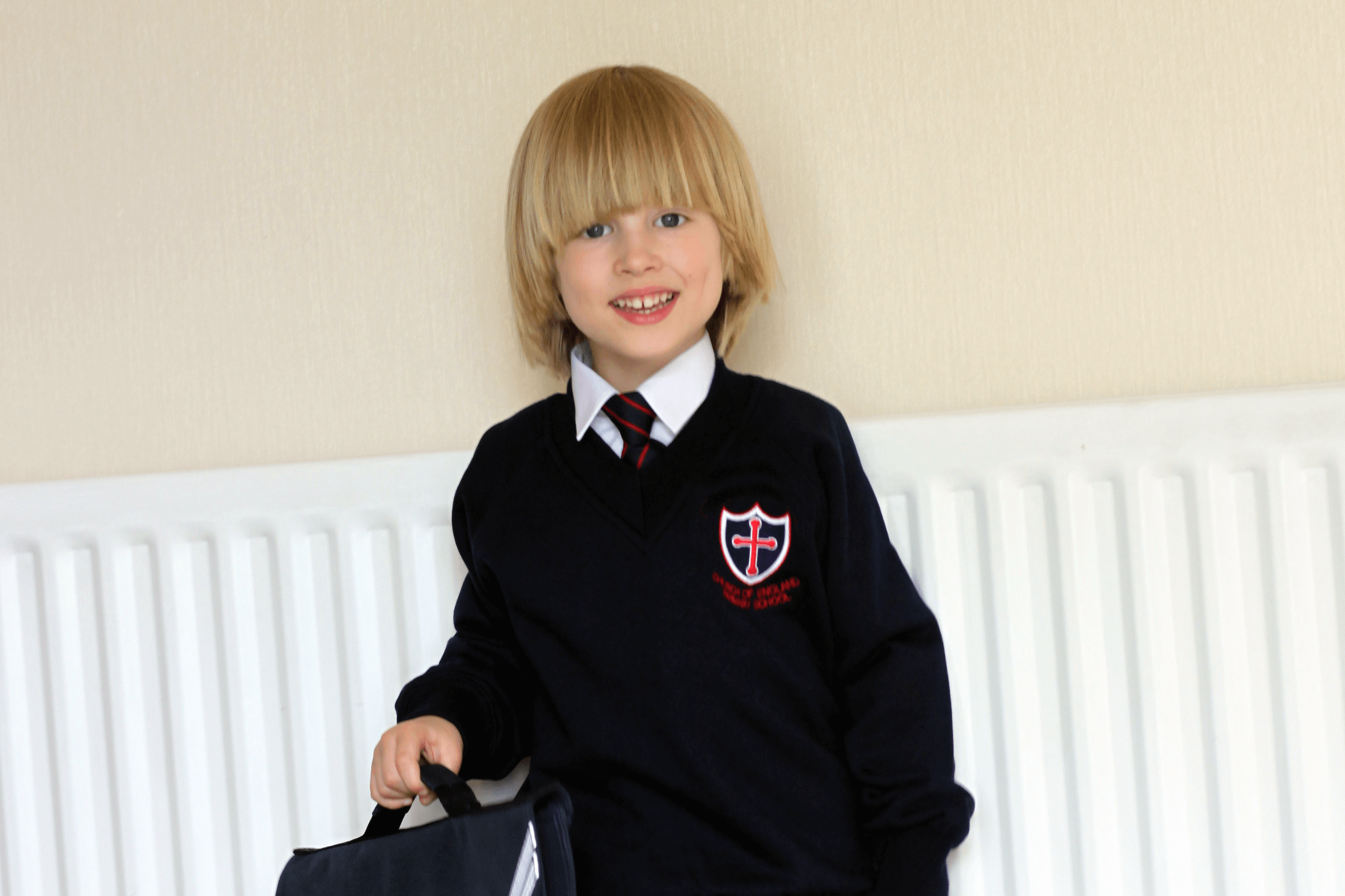 Toby looking super smart in his school uniform