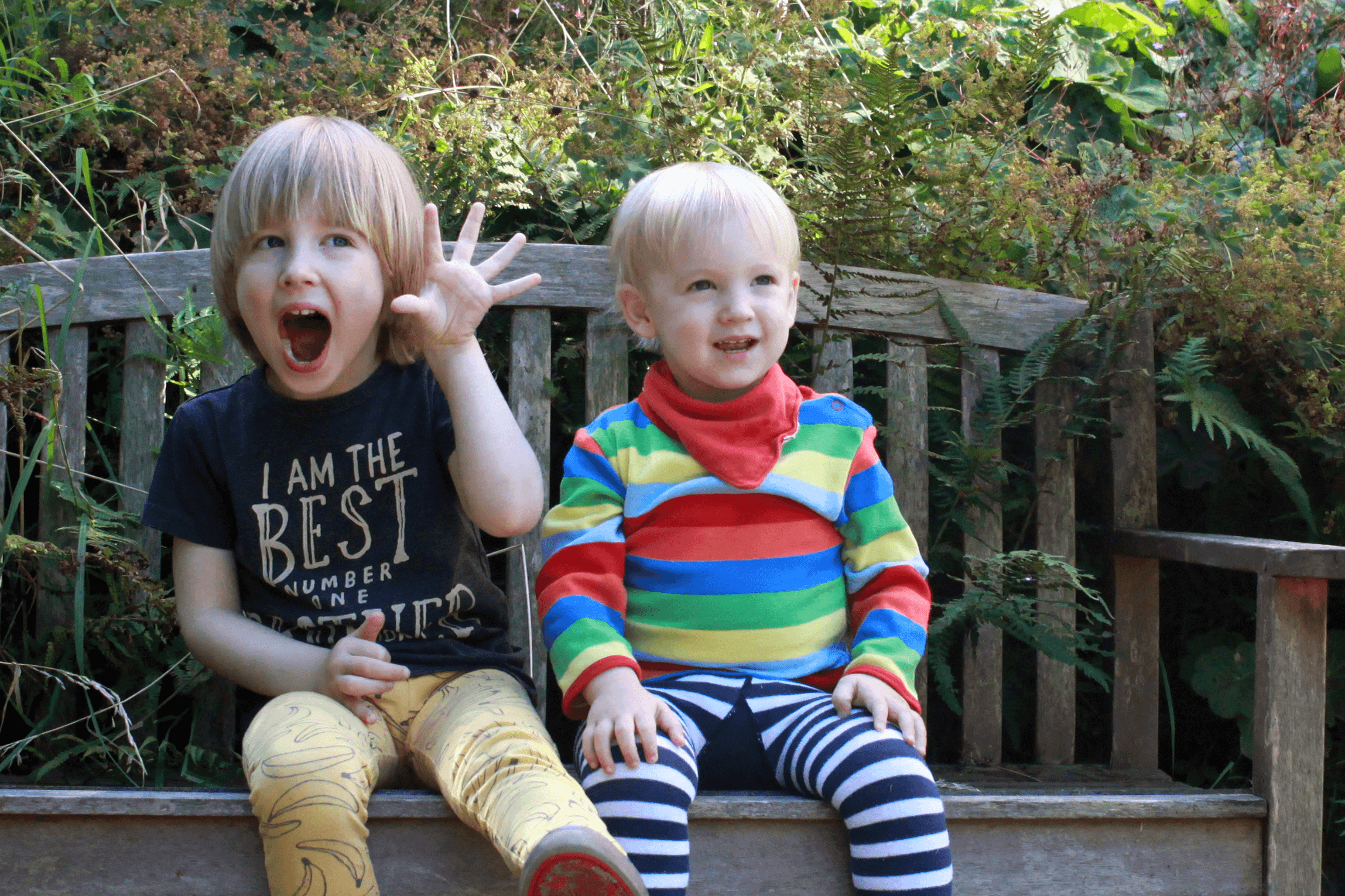 Toby and Gabe on the garden bench