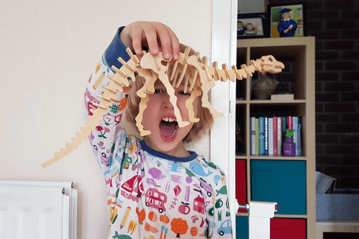 Toby and his dinosaur skeleton model