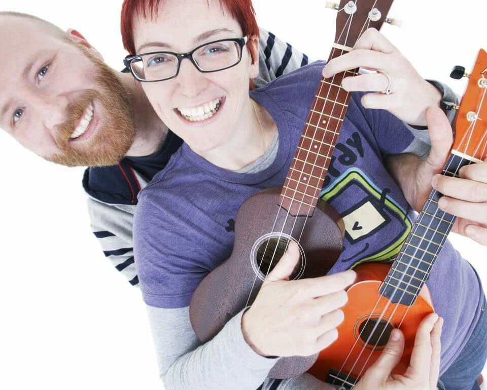 Me and Barry playing ukuleles