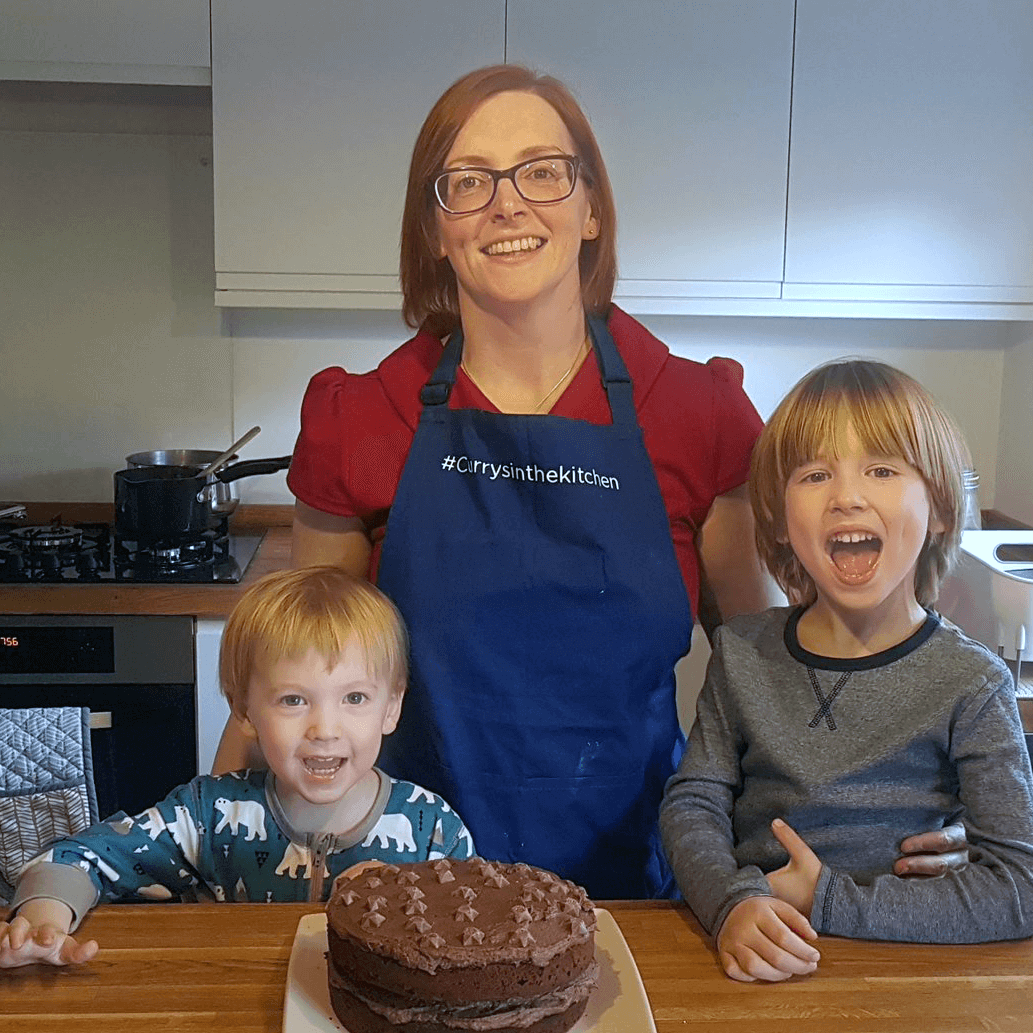 Baking a birthday cake for Grandad with Toby and Gabe