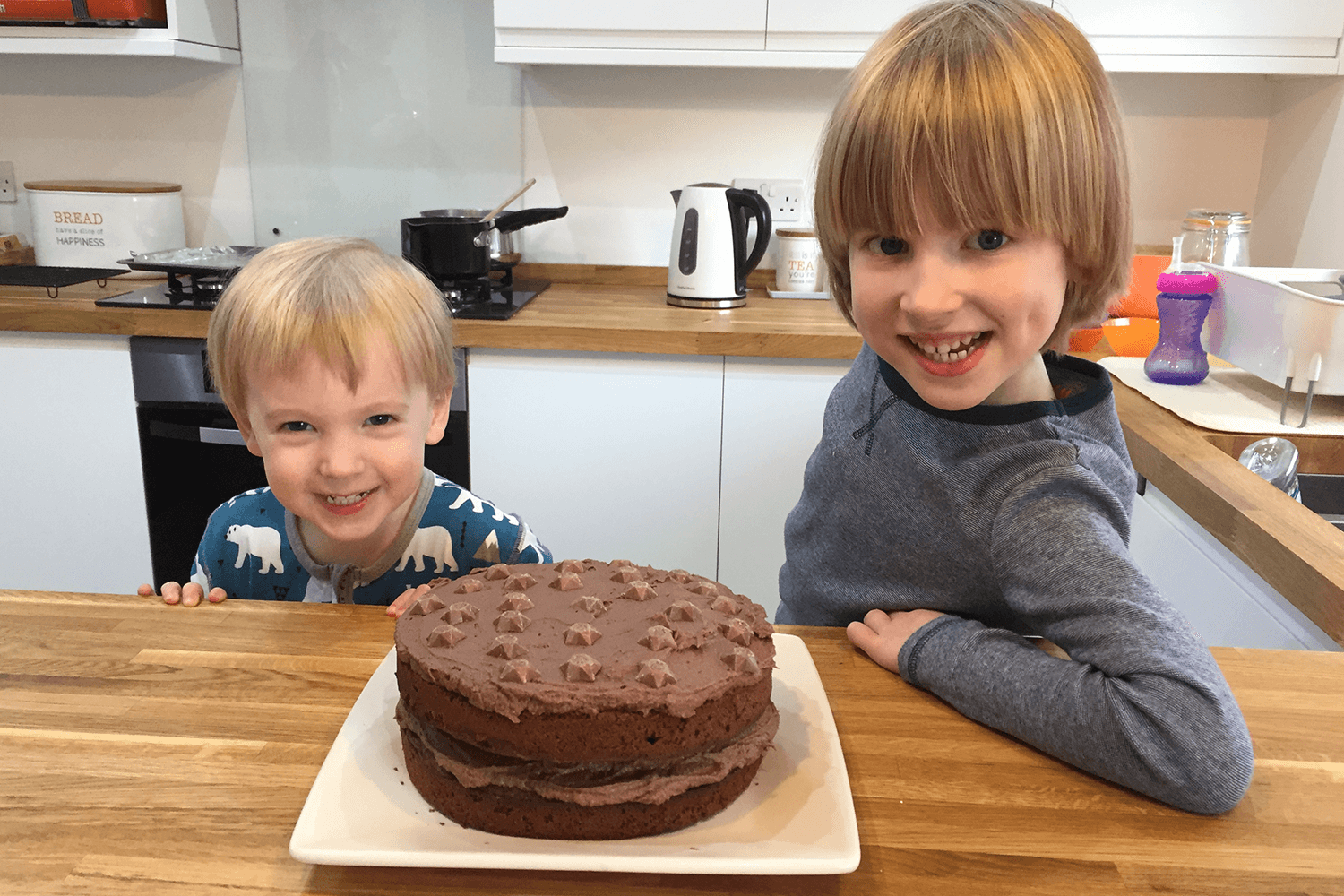 Toby and Gabe made a birthday cake for Grandad