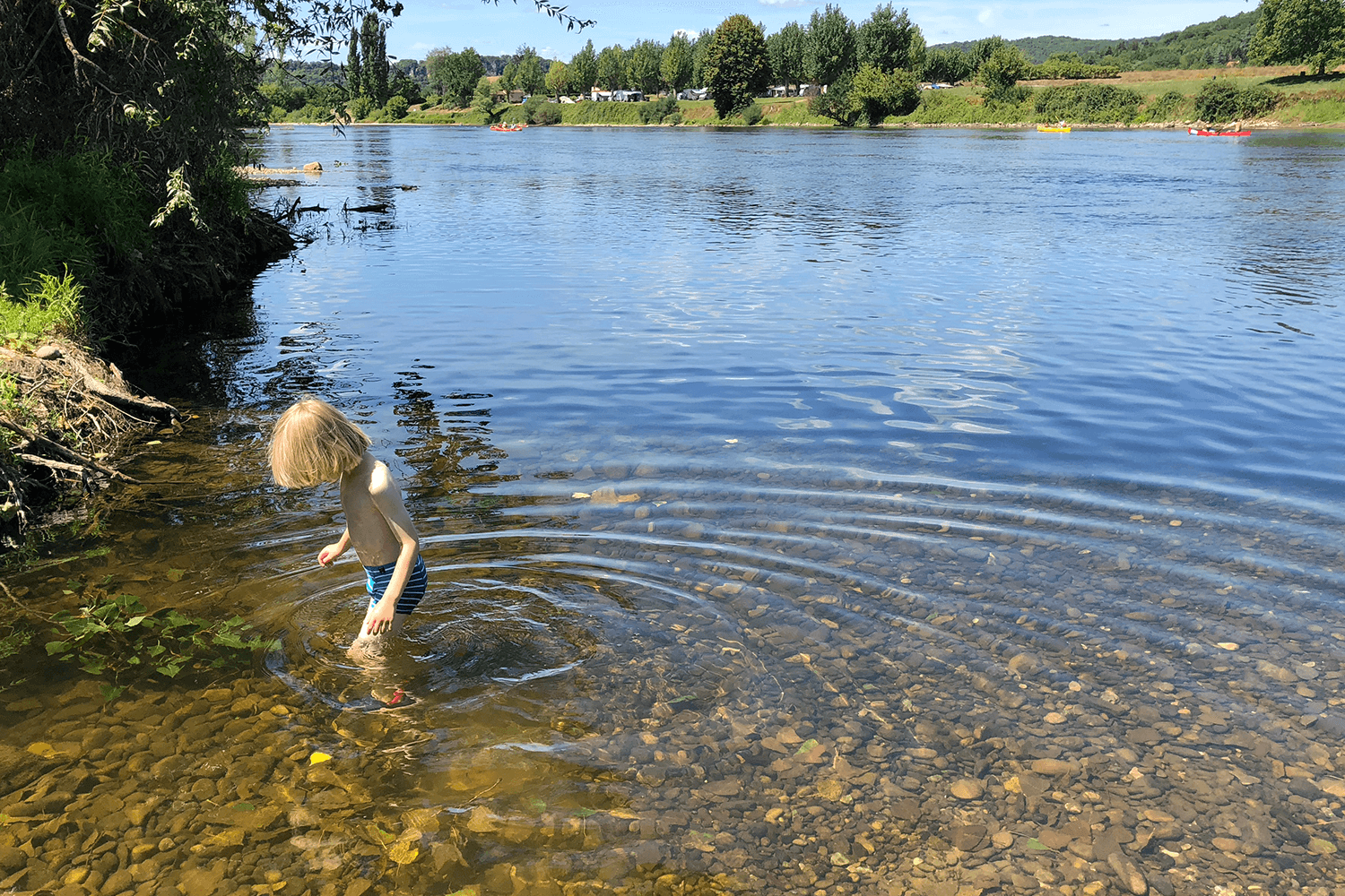 Toby paddling in the Dordogne