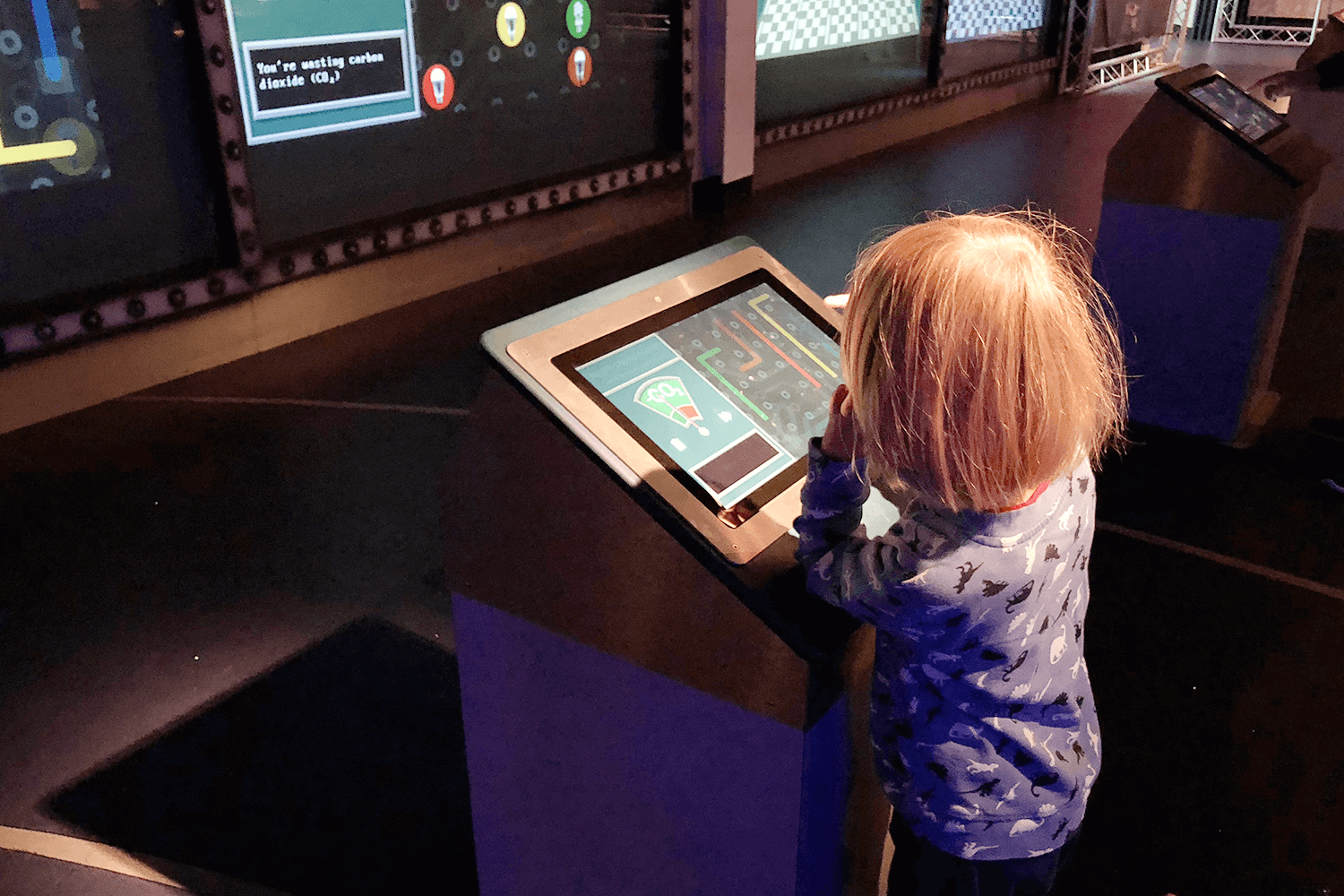 Toby enjoying a game at Spaceport