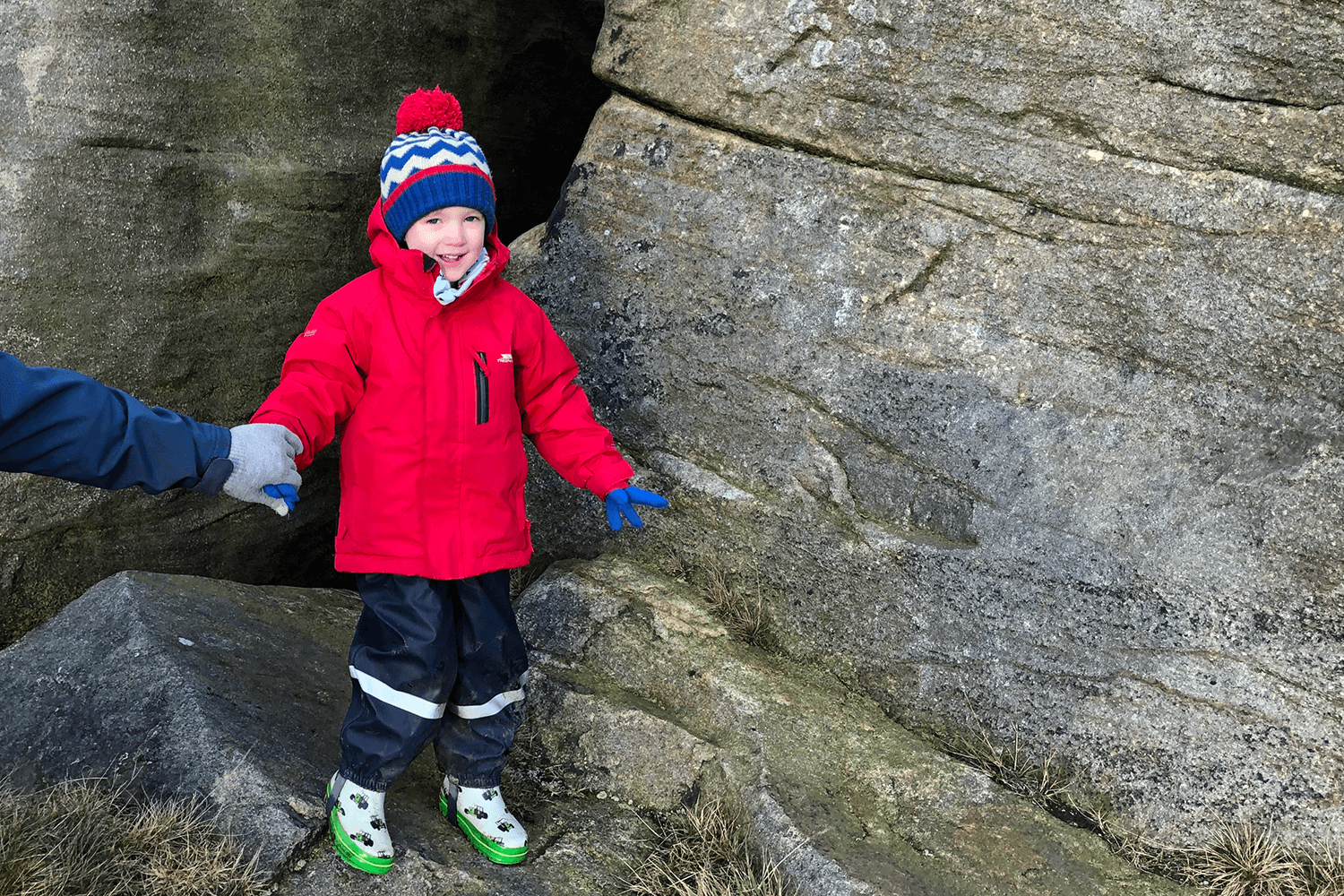 Gabe exploring the Bridestones