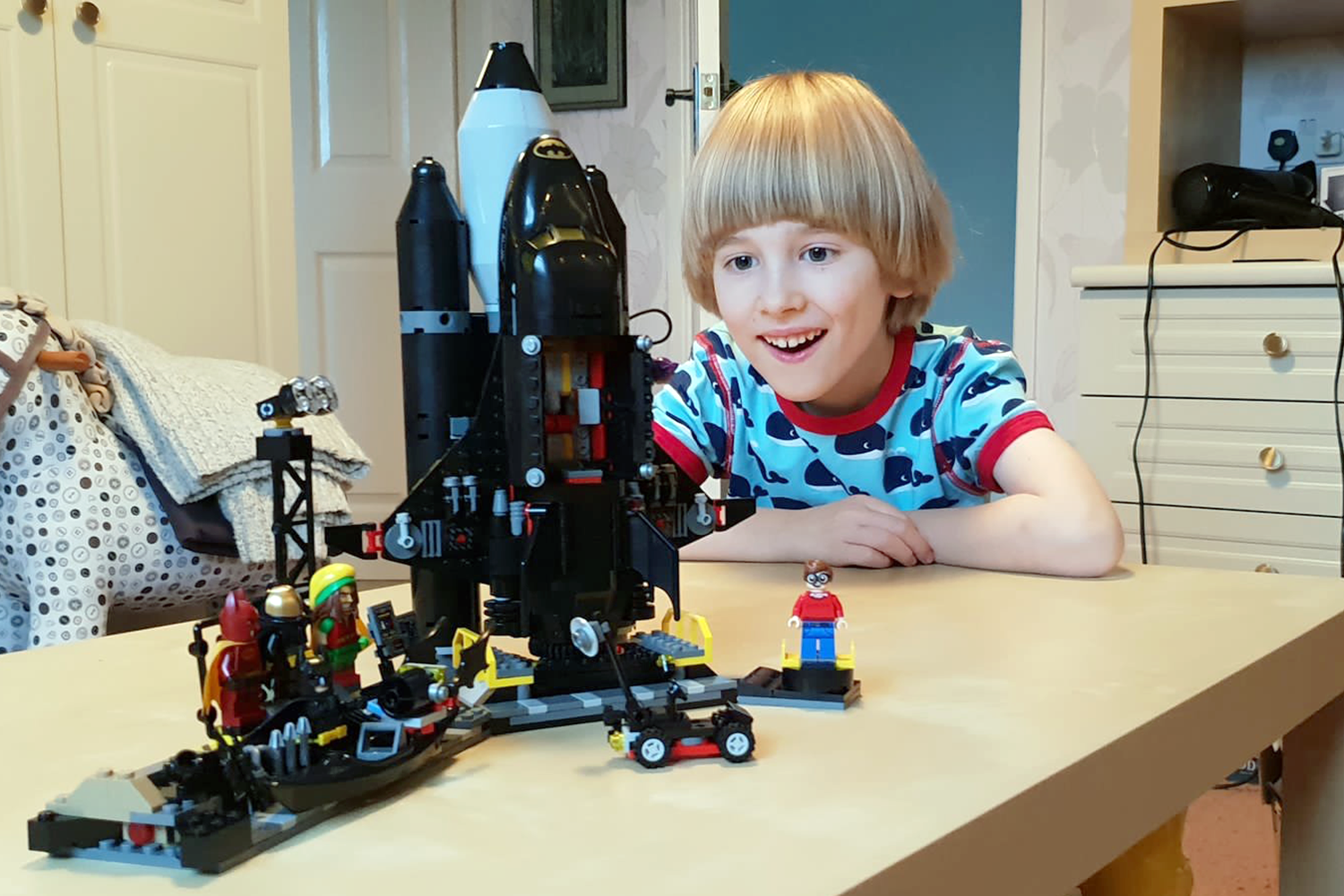Toby with his completed Lego Batman set