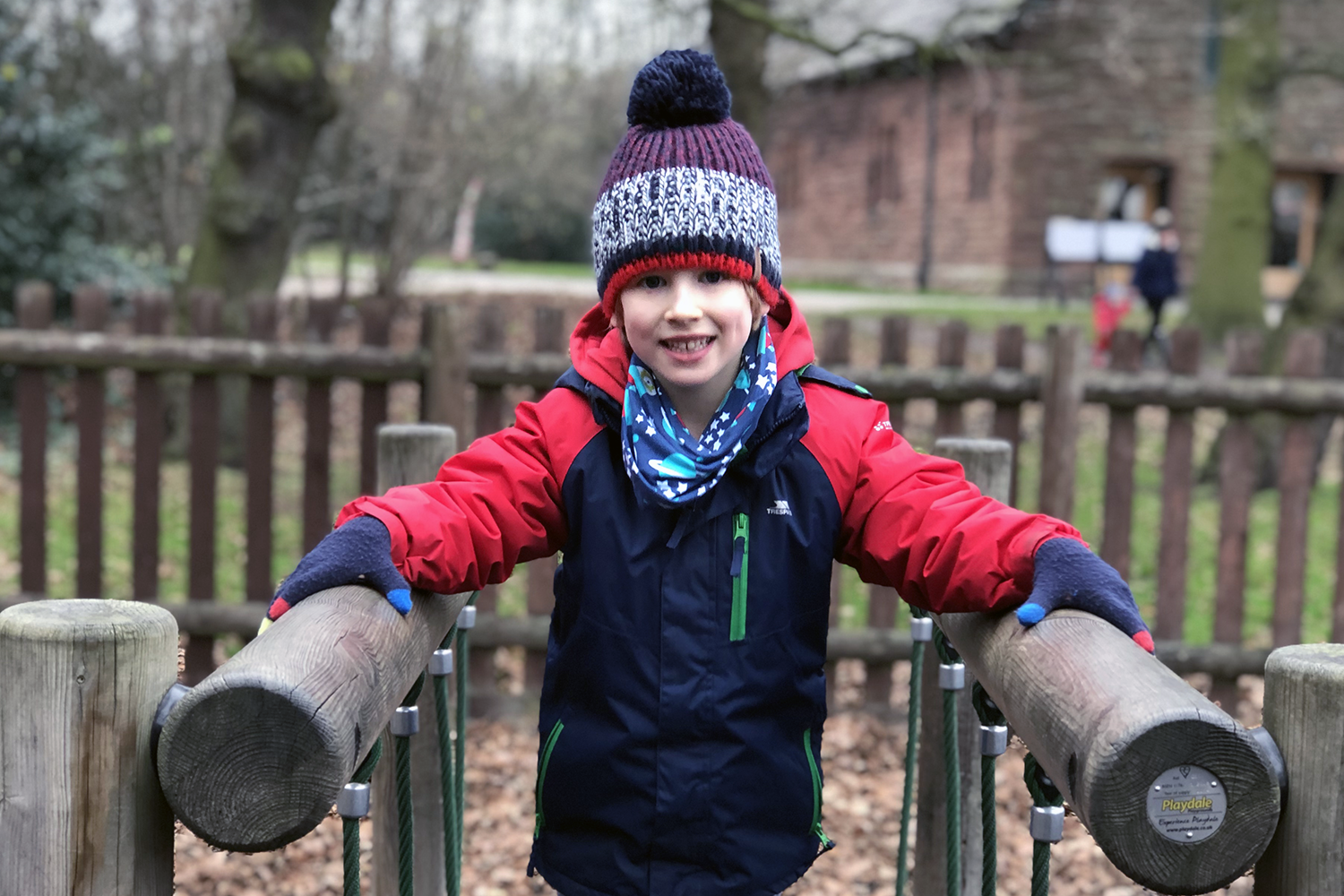 Toby on the playground at Speke Hall