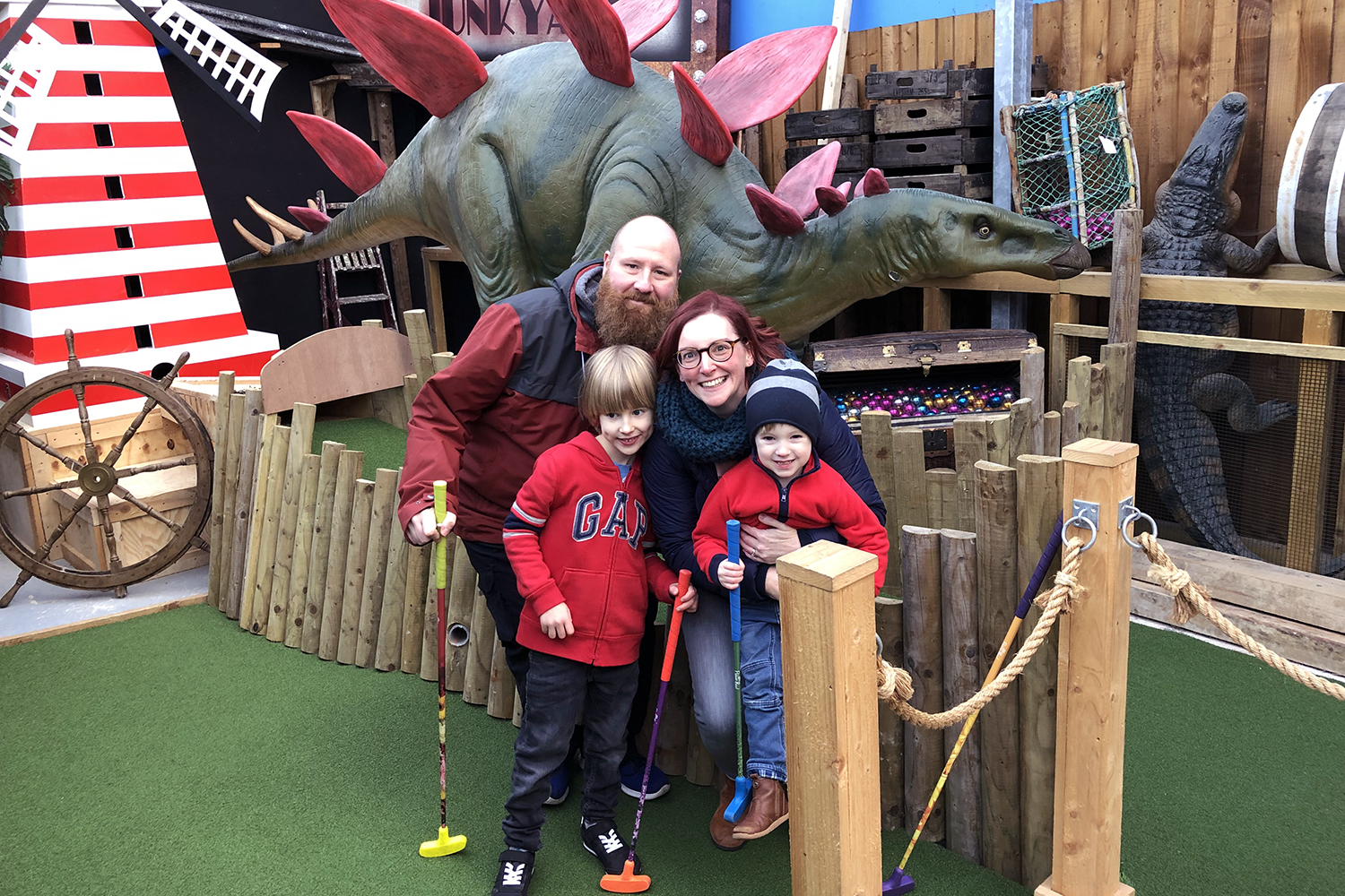 Me & Mine January 2019 - the family playing Crazy Golf
