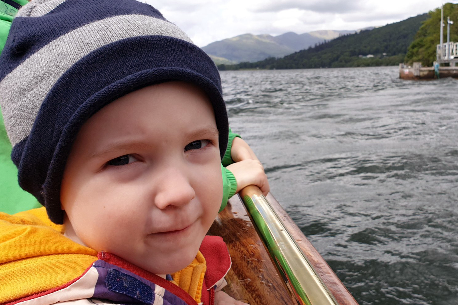 Gabe on a boat on Lake Windermere