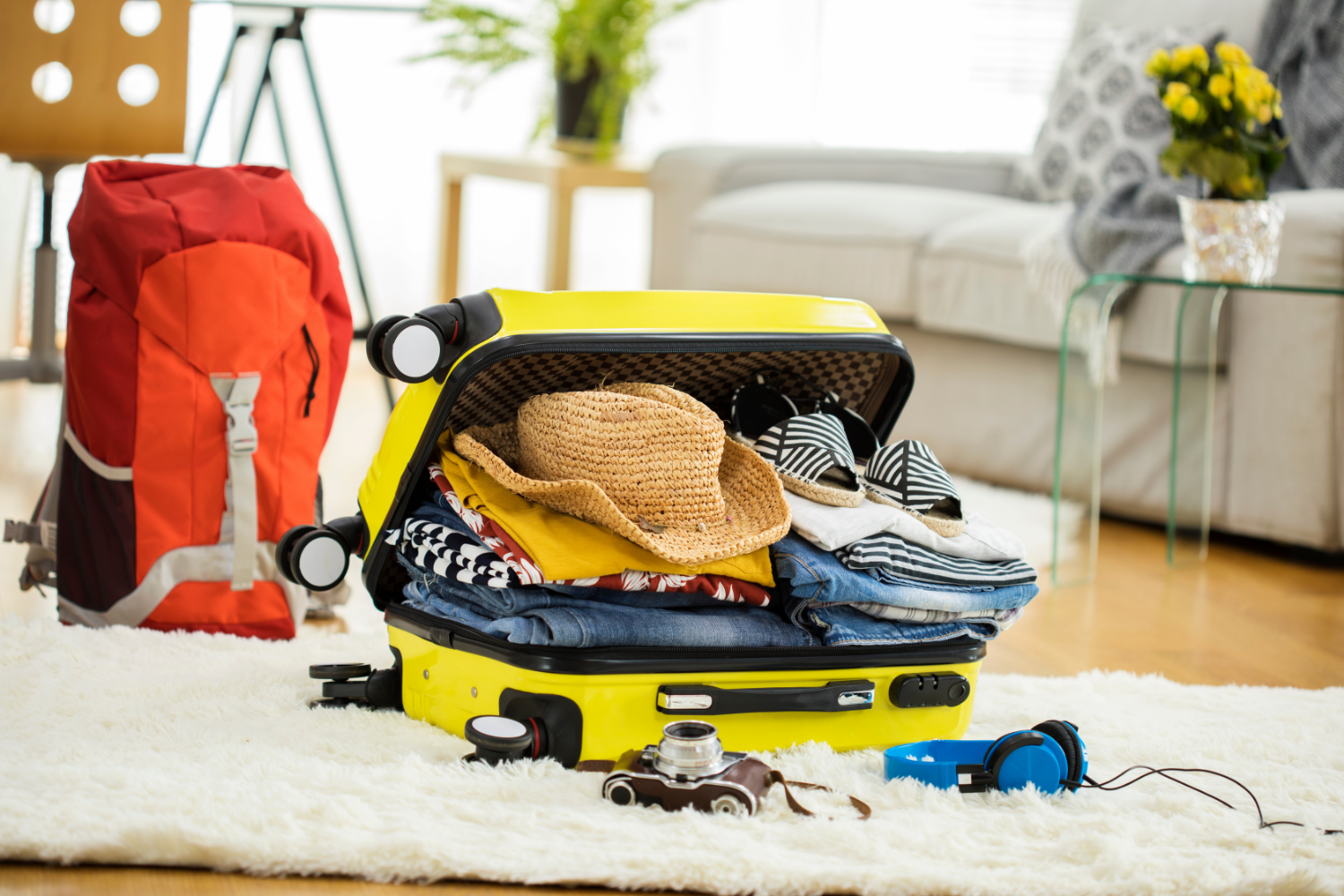Preparing for a holiday - packing a suitcase