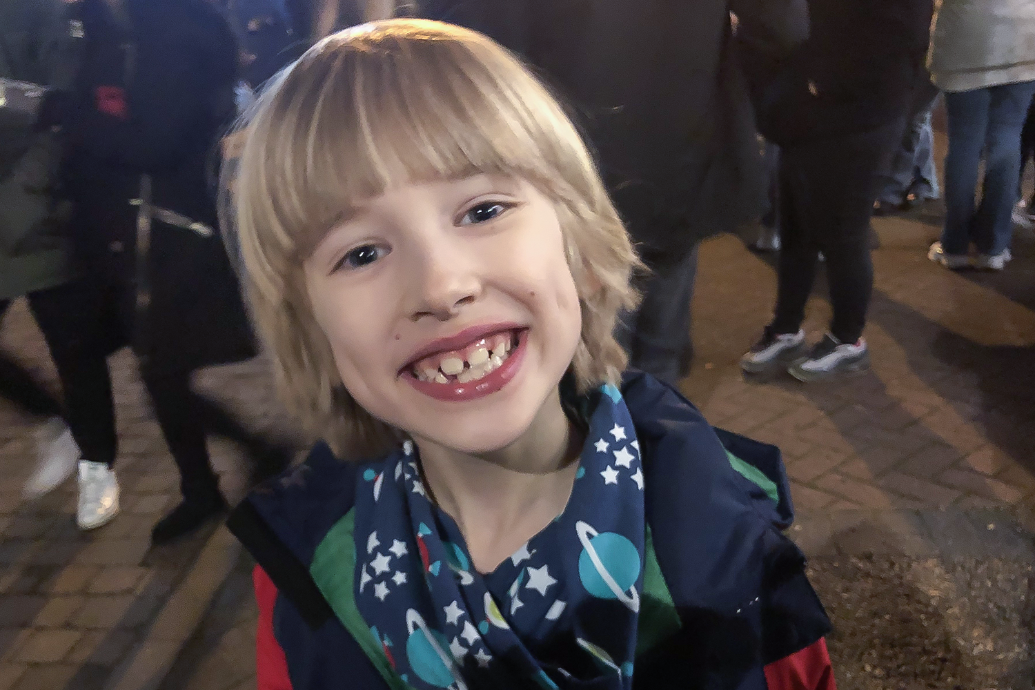 Big grin from Toby at the Christmas lights switch on