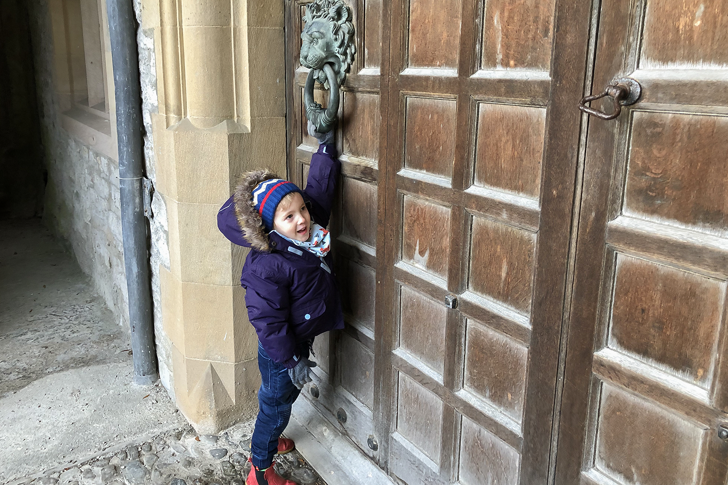 Gabe knocking on the door of Sizergh Castle