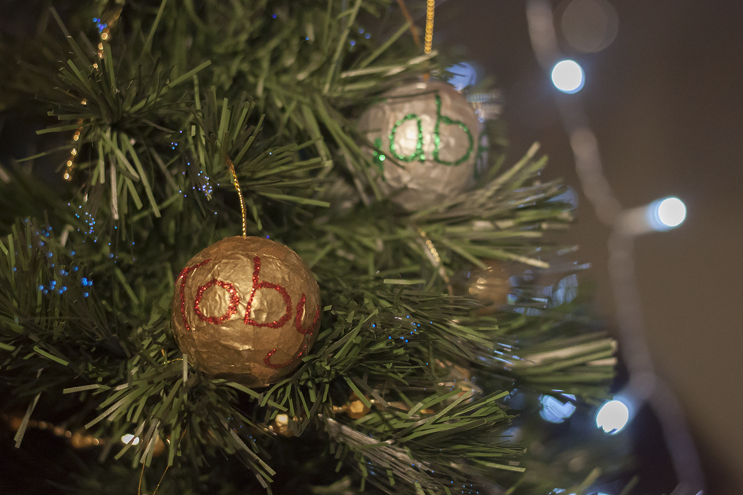 Personalised baubles on the tree