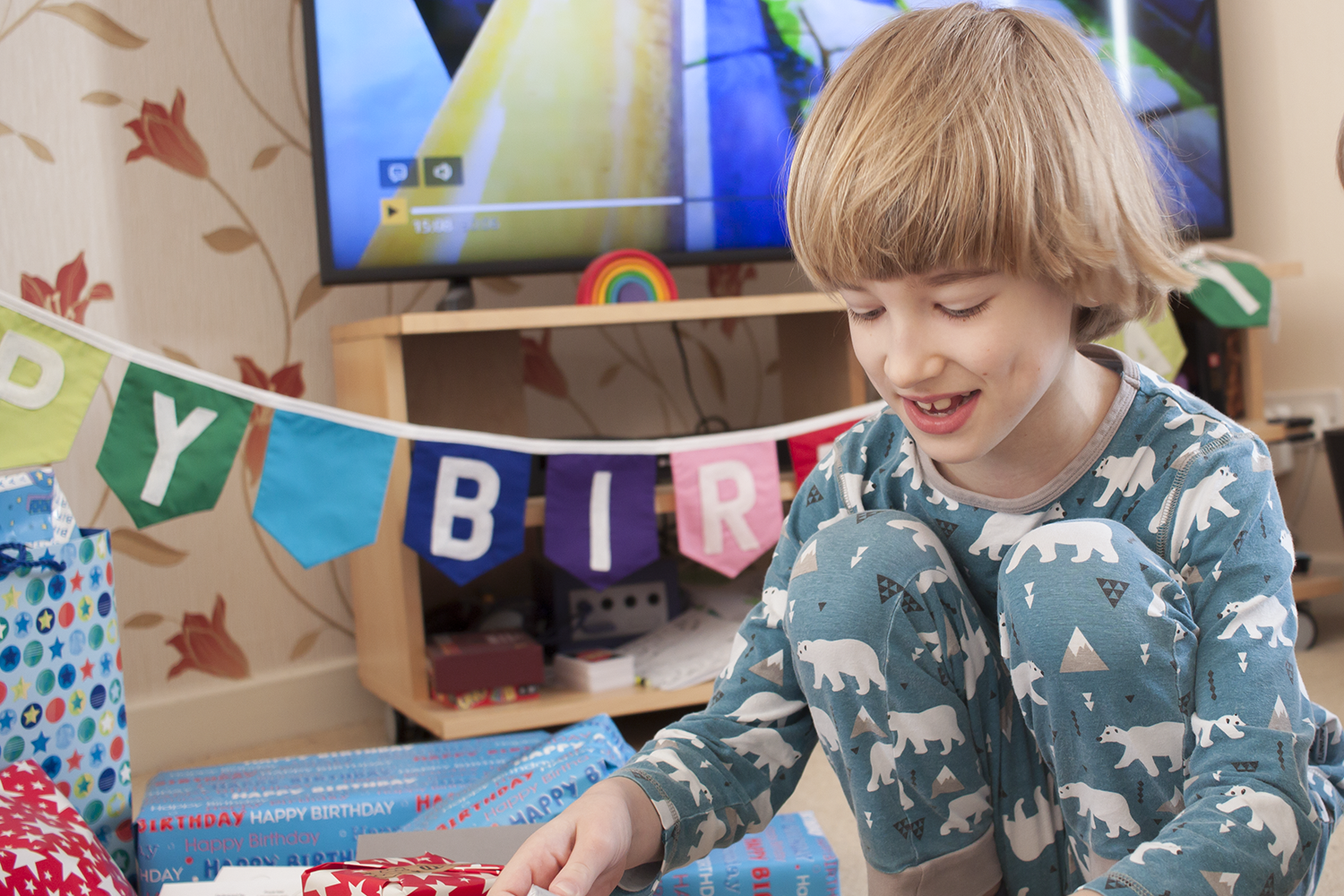 Toby opening his birthday presents
