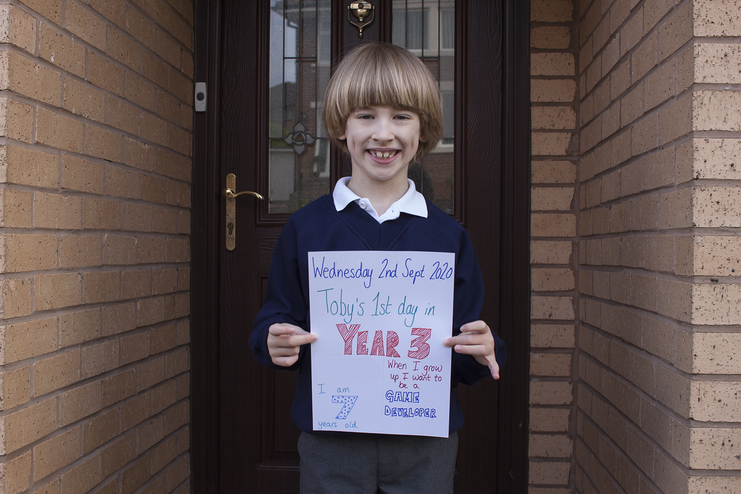 Toby on his first day in Year 3