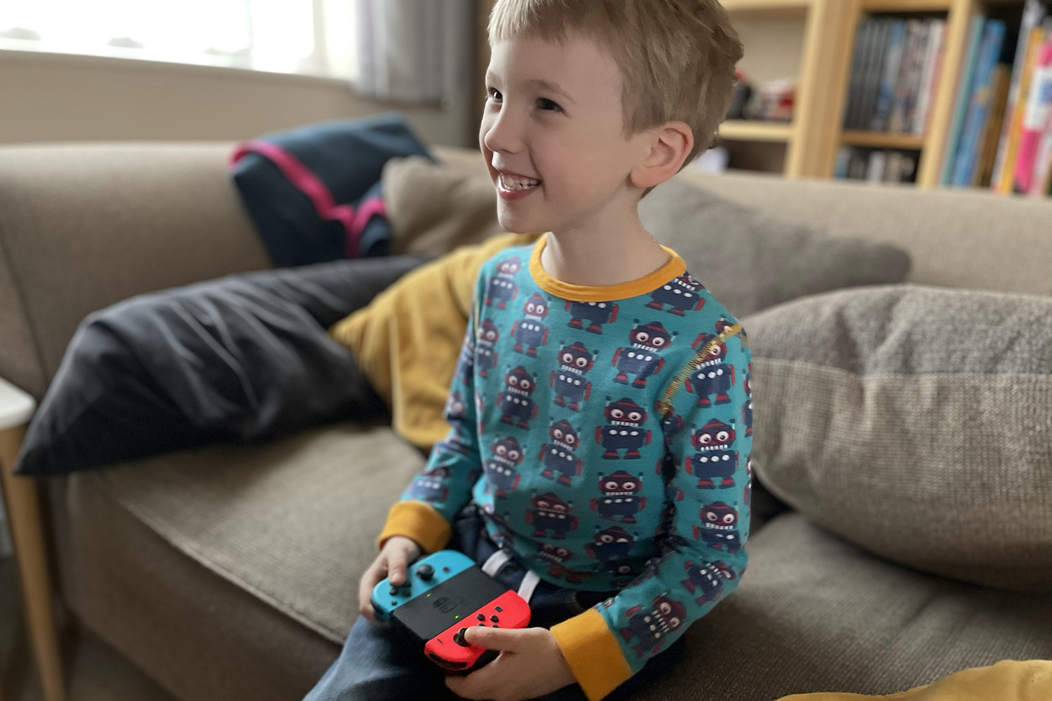 Gabe playing on the Switch